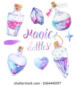 Collection of four magic bottles with potion in pink, turquoise and violet colors. Watercolor glass perfume flasks, stone, stains, heart.