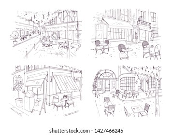 Collection of freehand sketches of outdoor cafe or restaurant with tables and chairs standing on city street beside buildings and trees. Monochrome illustration hand drawn with contour lines