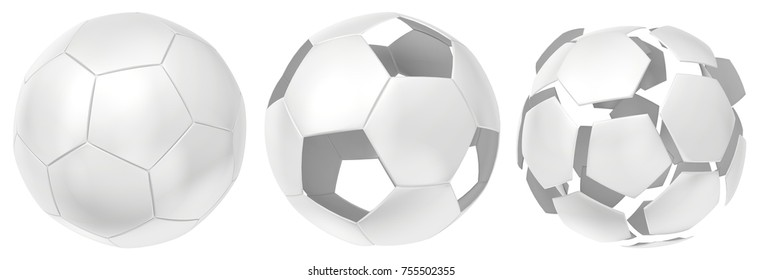Collection futuristic white of balls isolated on white background. 3d rendering.