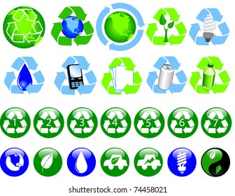 A collection of glossy recycling and ecological icons Vector available