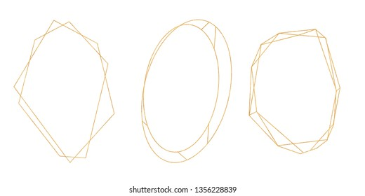 Collection of golden geometrical crystal diamond frames