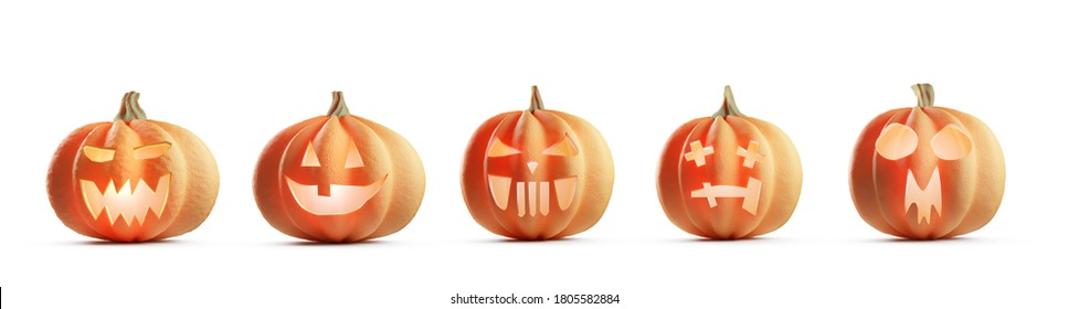 Collection of Halloween pumpkins isolated on white. Jack-o'-lantern scary carved faces. 3D illustration