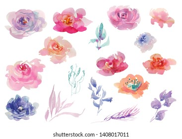 Collection Hand drawing watercolor pink and purple flowers for Wedding bridal romanric rustic bouquet. ornament