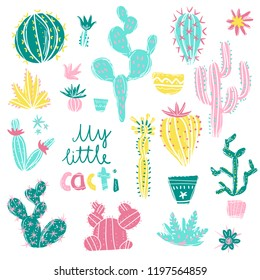 Collection of hand drawn cactus. Bright exotic succulents in scandinavian style.