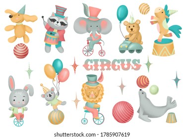 Collection of hand drawn circus animals, isolated illustration on white background