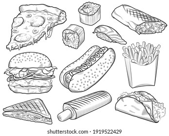 Collection of hand drawn fast food food on white board, background. Fast food for menu design pizza, hot dog, fries, rolls, burger, shawarma