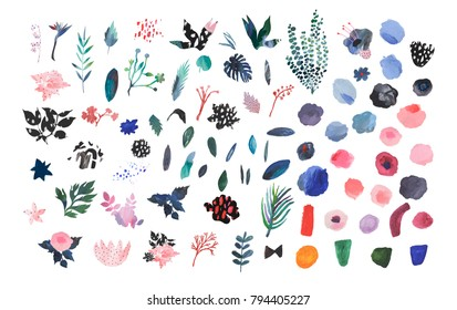 Collection of hand drawn flowers and leaves. Painted art set