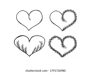 Collection of hand drawn hearts with floral elements, useful for blog posts, cards, labels.