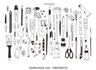 Collection of hand drawn stationery, writing utensils. Set of office and art supplies isolated on white background - brush, pen, pencil, marker, eraser, paint, sharpener. Contour illustration.