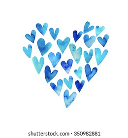 Collection of hand painted blue hearts. Isolated on white background. Ink illustration. Hand drawn hearts. Watercolor card. Hearts silhouette.