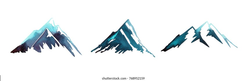collection of hand painted watercolor mountain shapes / silhouettes isolated on white background