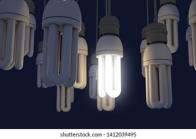 A collection of hanging fluorescent light bulbs with a single one illuminated - 3D render