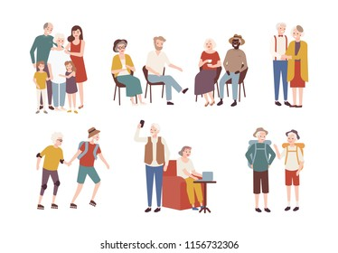 Collection of happy elderly people performing daily activities - rollerskating, going camping, spending time with family. Set of smiling old men and women. Colorful flat cartoon illustration.