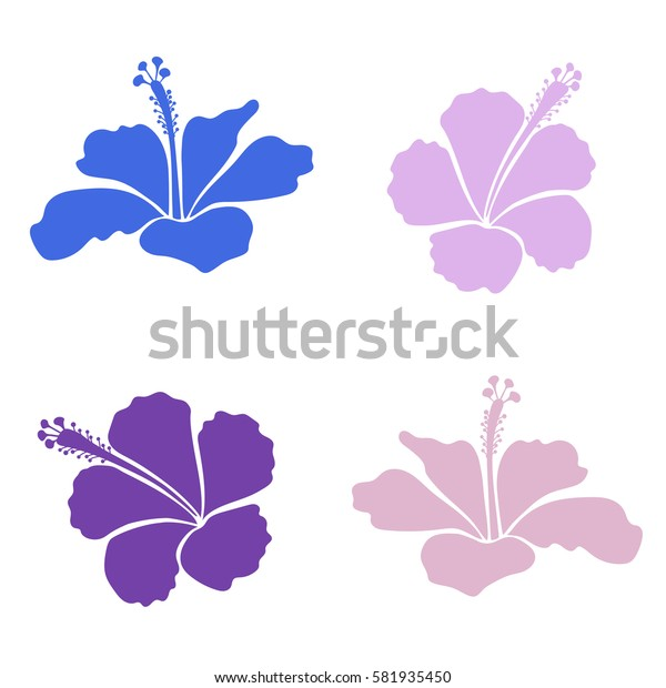 Collection of hour hibiscus flowers in blue and violet colors. Watercolor painting effect.