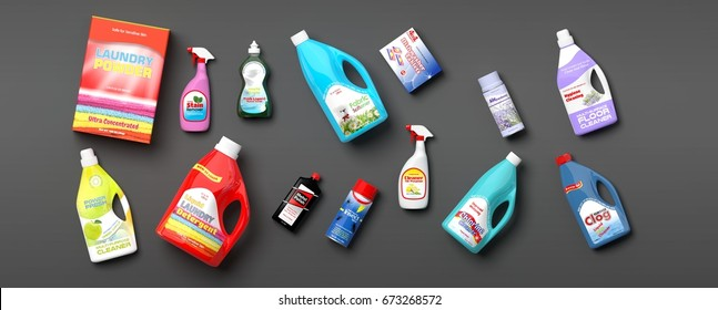 Collection of household cleaning products on grey background. 3d illustration