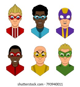 Collection of illustrated heads of various superheroes, isolated on a white background