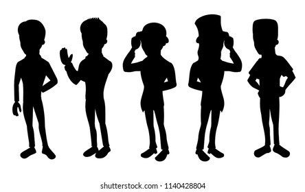 Collection of illustrated silhouttes of formaly dressed men, isolated on a white background