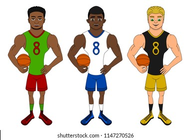 Collection of illustration of diverse basketball players, isolated on a white background