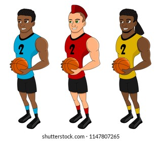 Collection of illustration of diverse basketball players posing with balls, isolated on a white background
