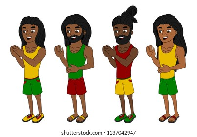 Collection of illustration of Rastafari men with dreadlocks and dressed in colorful clothes, isolated on white background