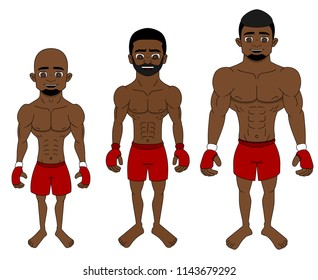 Collection of illustrations of African American mixed martial artists of differnent sizes - flyweight, middleweight, heavyweight, isolated on a white background