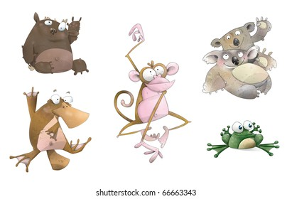 A collection of illustrations of animals in a cartoon style. Includes clipping paths for each animal.