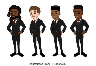 Collection of illustrations of businessmen in suit, isolated on a white background
