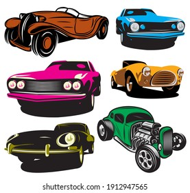 collection of illustrations with colored classic cars