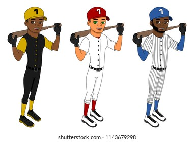 Collection of illustrations of diverse baseball players with bats, isolated on a white background