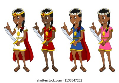 Collection of illustrations of diverse cute little princesses in colorful dresses, isolated on a white background