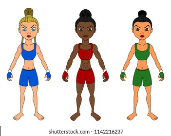 Collection of illustrations of diverse female mixed martial artists, isolated on a white background