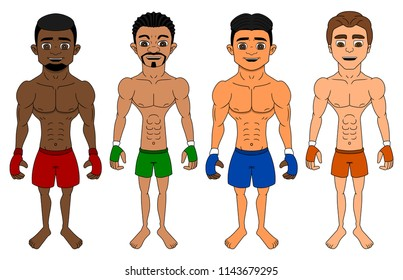 Collection of illustrations of diverse flyweight or bantamweight mixed martial artists, isolated on a white background