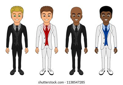 Collection of illustrations of diverse happy men dressed in formal clothes, isolated on a white background