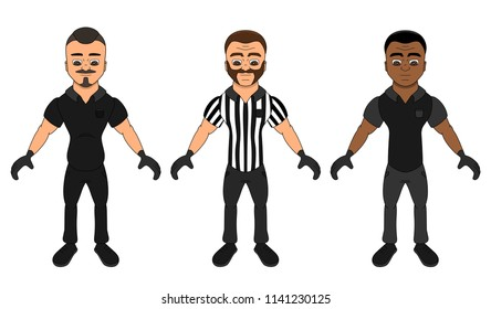 Collection of illustrations of diverse men dressed as referees, isolated on a white background