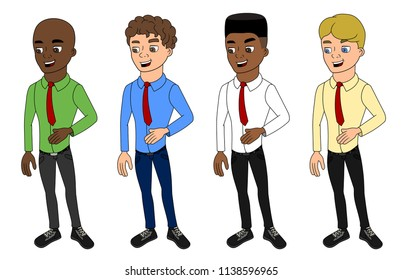 Collection of illustrations of diverse men wearing casual business clothes, isolated on a white background