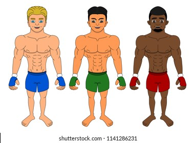 Collection of illustrations of diverse mixed martial artists, isolated on a white background