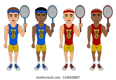 Collection of illustrations of diverse tennis players with rackets, isolated on a white background