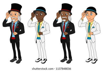 Collection of illustrations of men in formal clothes tipping their hats, isolated on a white background