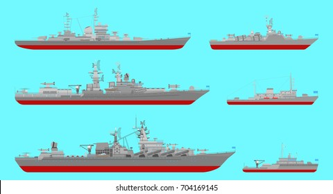 Collection of illustrations of missile cruisers,  large anti-submarine ship,  missile ship and minesweeper isolated on blue background. Flat style. Good for advertisement, banners and posters.