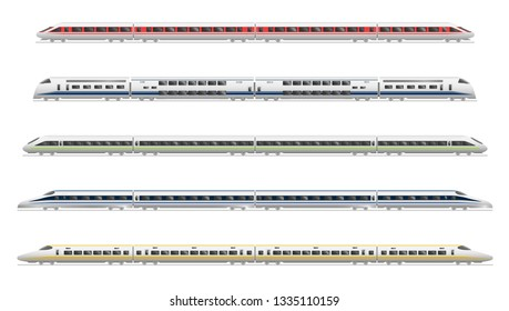 Collection of illustrations ofrailway express trains, isolated on white background.  Flat style. Good for advertisement, banners, posters and cards.