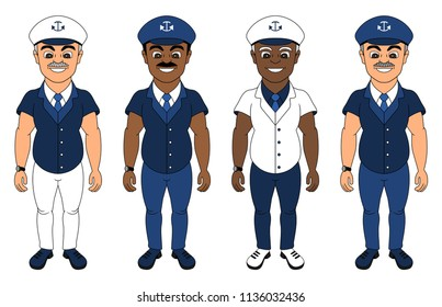 Collection of illustrations of ship captains dressed in blue uniforms, isolated on a white background