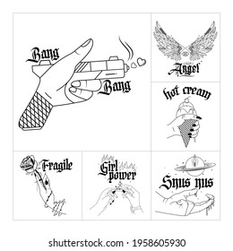 collection of illustrations and typography. Line art style on the hands of women and men is shaped like a pistol, with a rose, wet, with an ice cream and wings.