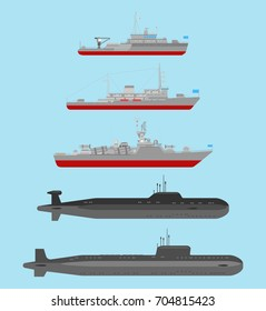 Collection of illustrations of underwater nuclear cruisers, small artillery ship and minesweeper  isolated on blue background. Flat style. Good for advertisement, banners, posters and cards.