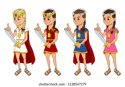 Collection of illustrations of various cute little princesses in colorful dresses, isolated on a white background