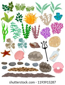 Collection of isolated aquarium and underwater plants, shells, decorations and ornaments.