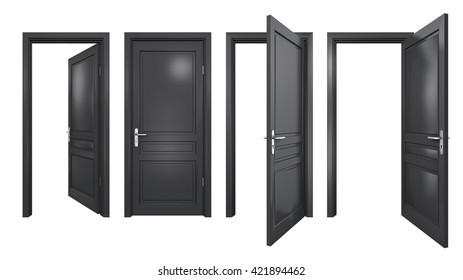 Collection of isolated black doors, 3D rendering