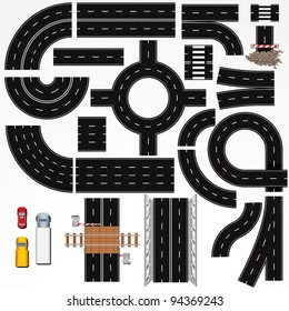 Collection of Isolated Highway Elements, Constructions and Various Vehicles. Map Kit #1
