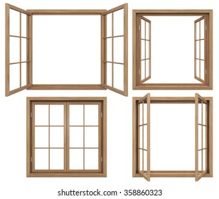 Collection of isolated wooden windows
