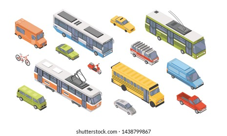 Collection of isometric motor vehicles isolated on gray background - car, scooter, bus, tram, trolleybus, minivan, bicycle, pickup truck. Set of automobile transport. Colorful illustration.