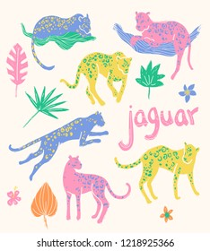 collection of jaguars. Going, staying, sleeping, jumping. Tropic wild animals and plants in folk naive style.